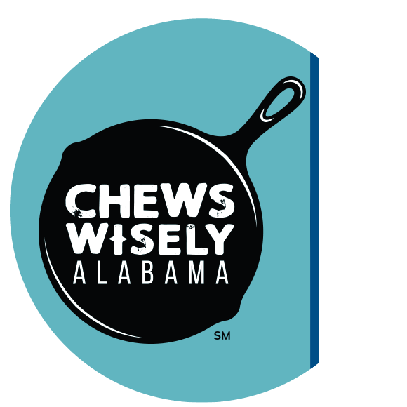 Chews Wisely Logo - Skillet with the words Chews Wisely